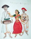 A Dancing Girl and her assistants - watercolour from South India (19th century).