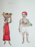 Male and female gardeners. Watercolour from South India (19th century).